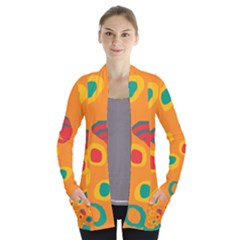 Orange abstraction Women s Open Front Pockets Cardigan(P194)