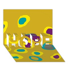 Yellow abstraction HOPE 3D Greeting Card (7x5)