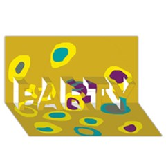 Yellow abstraction PARTY 3D Greeting Card (8x4)