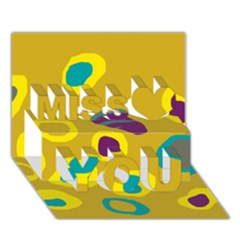 Yellow Abstraction Miss You 3d Greeting Card (7x5)