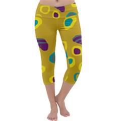 Yellow abstraction Capri Yoga Leggings