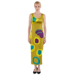 Yellow Abstraction Fitted Maxi Dress
