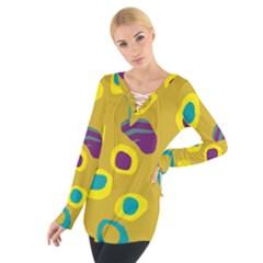 Yellow Abstraction Women s Tie Up Tee