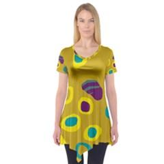 Yellow abstraction Short Sleeve Tunic