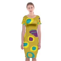 Yellow abstraction Classic Short Sleeve Midi Dress