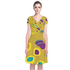 Yellow Abstraction Short Sleeve Front Wrap Dress