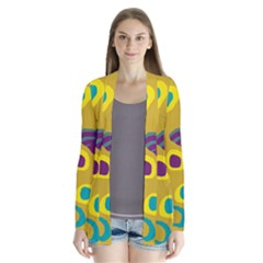 Yellow abstraction Drape Collar Cardigan