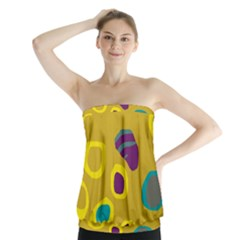 Yellow abstraction Strapless Top