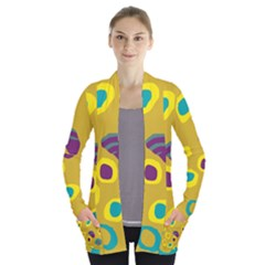 Yellow abstraction Women s Open Front Pockets Cardigan(P194)