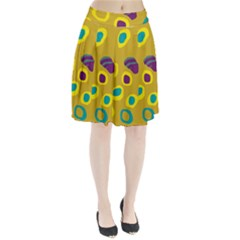 Yellow abstraction Pleated Skirt