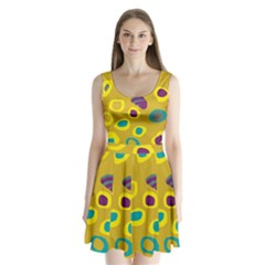 Yellow abstraction Split Back Mini Dress