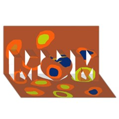 Orange Abstraction Mom 3d Greeting Card (8x4)