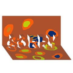 Orange abstraction SORRY 3D Greeting Card (8x4)