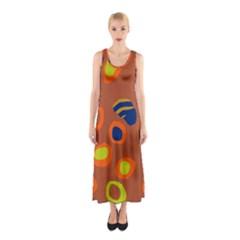 Orange Abstraction Sleeveless Maxi Dress