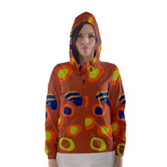 Orange abstraction Hooded Wind Breaker (Women)