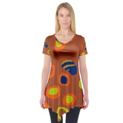 Orange Abstraction Short Sleeve Tunic