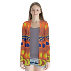 Orange abstraction Drape Collar Cardigan