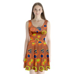 Orange Abstraction Split Back Mini Dress