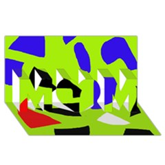 Green abstraction MOM 3D Greeting Card (8x4)