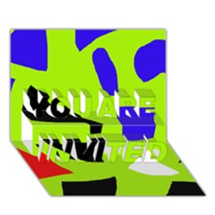 Green abstraction YOU ARE INVITED 3D Greeting Card (7x5)