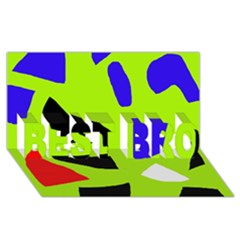 Green abstraction BEST BRO 3D Greeting Card (8x4)