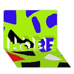 Green abstraction HOPE 3D Greeting Card (7x5)