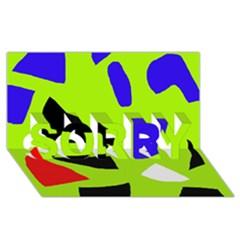 Green abstraction SORRY 3D Greeting Card (8x4)