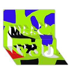 Green abstraction Miss You 3D Greeting Card (7x5)