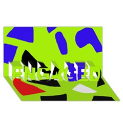 Green abstraction ENGAGED 3D Greeting Card (8x4)