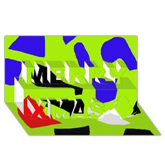Green abstraction Merry Xmas 3D Greeting Card (8x4)