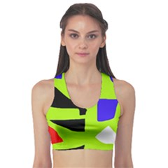 Green abstraction Sports Bra
