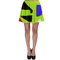 Green abstraction Skater Skirt