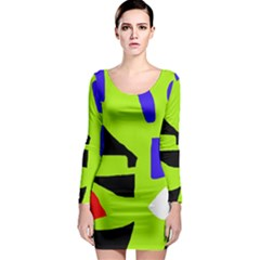Green abstraction Long Sleeve Bodycon Dress