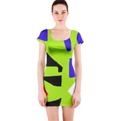 Green abstraction Short Sleeve Bodycon Dress