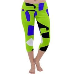 Green Abstraction Capri Yoga Leggings