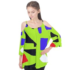Green Abstraction Flutter Tees