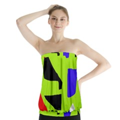 Green abstraction Strapless Top