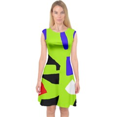 Green Abstraction Capsleeve Midi Dress