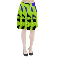 Green abstraction Pleated Skirt