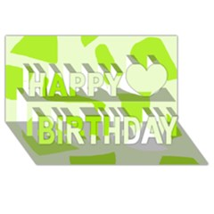 Green abstract design Happy Birthday 3D Greeting Card (8x4)
