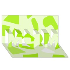 Green abstract design MOM 3D Greeting Card (8x4)