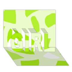 Green abstract design GIRL 3D Greeting Card (7x5)