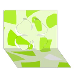 Green abstract design Clover 3D Greeting Card (7x5)