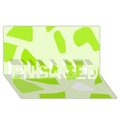Green abstract design ENGAGED 3D Greeting Card (8x4)