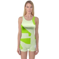 Green abstract design One Piece Boyleg Swimsuit
