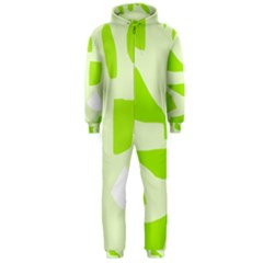 Green abstract design Hooded Jumpsuit (Men)