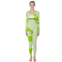 Green abstract design Long Sleeve Catsuit