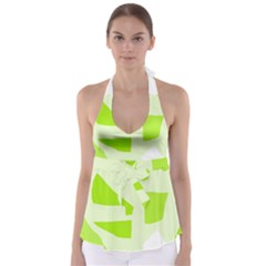 Green abstract design Babydoll Tankini Top