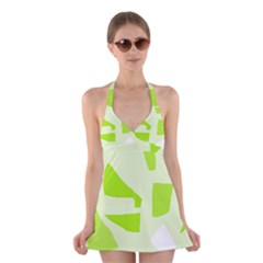 Green abstract design Halter Swimsuit Dress