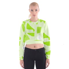 Green abstract design Women s Cropped Sweatshirt